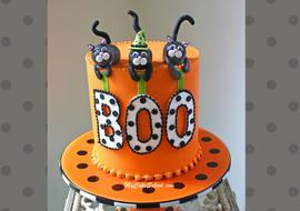 Adorable Black Cat Halloween Cake Video Tutorial by MyCakeSchool.com! Perfect for Halloween Parties!