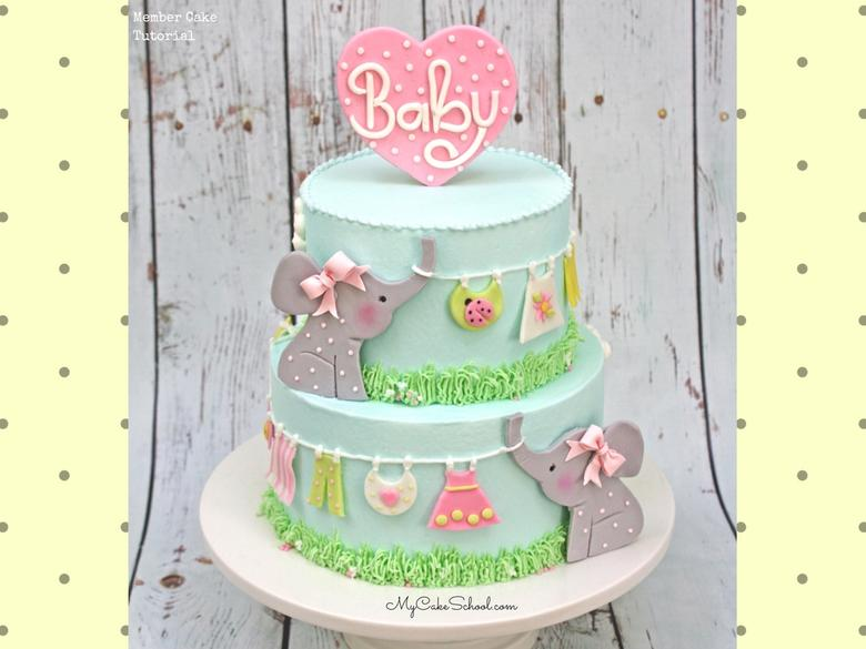 Sweet Elephant and Clothesline Cake Video Tutorial by MyCakeSchool.com! Perfect for baby showers!