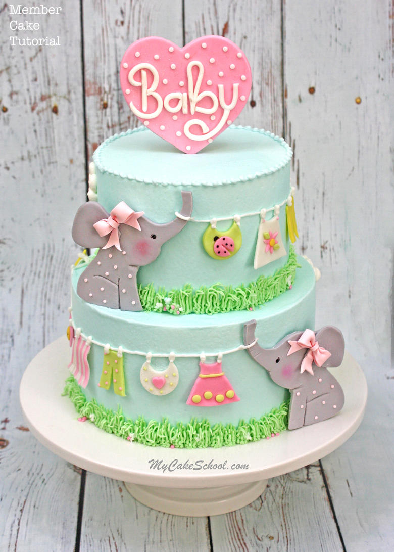 4c6713822072 Elephant Clothesline Cake- Video Tutorial