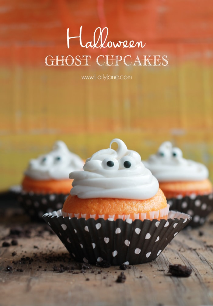 Ghost Cupcakes by LollyJane.com as featured on My Cake School's Roundup of Halloween Ideas!