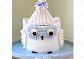 CUTE Owl Cake Video Tutorial by MyCakeSchool.com- Member Section