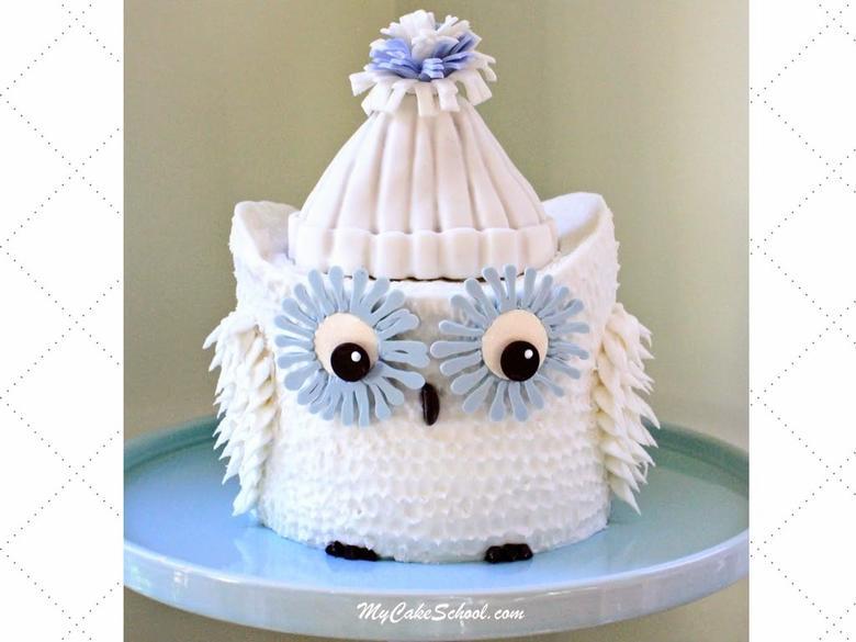 CUTE Owl Cake Video Tutorial by MyCakeSchool.com- Member Section