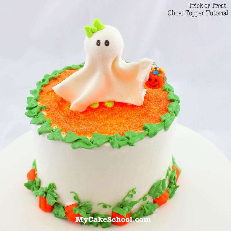CUTE Ghost Topper Cake Tutorial by MyCakeSchool.com