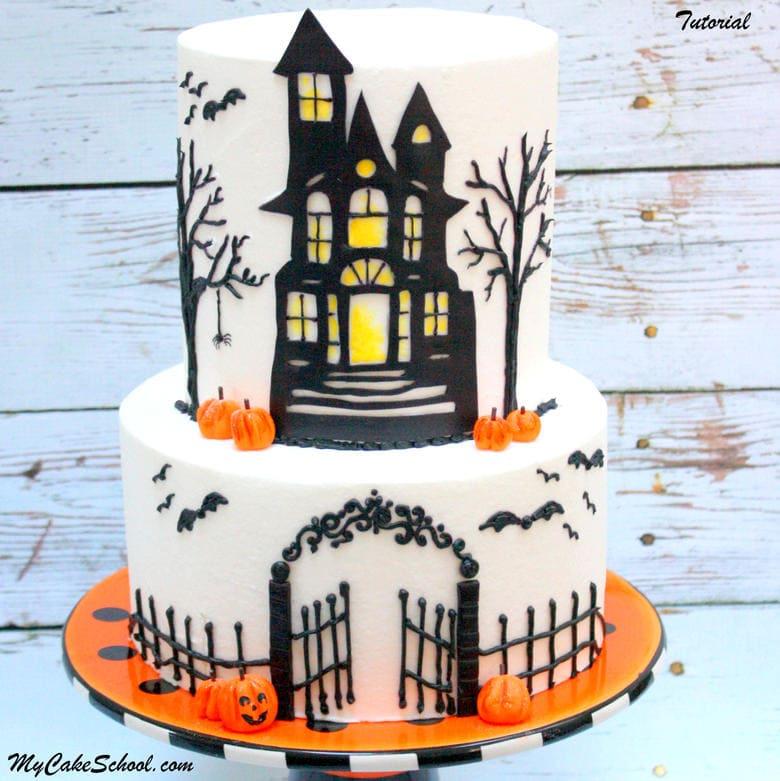 Spooky Haunted House Cake Tutorial by MyCakeSchool.com! (Member Cake Video Tutorial)