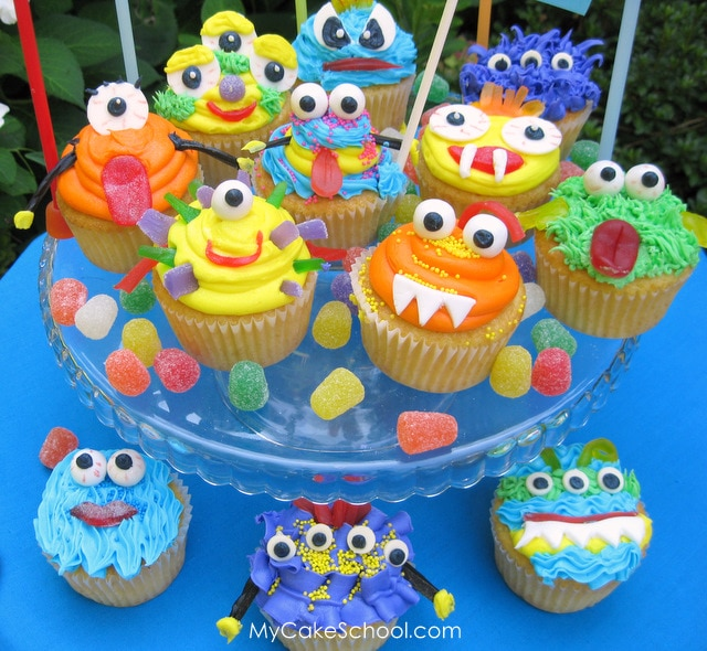 Easy and Cute Monster Cupcake Tutorial! Perfect for Halloween and Young Birthdays! MyCakeSchool.com