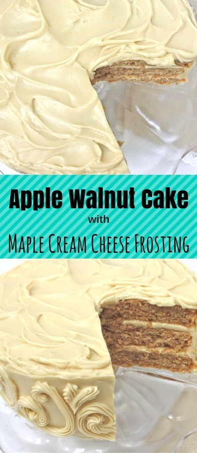 Amazing Homemade Apple Walnut Cake with Maple Cream Cheese Frosting