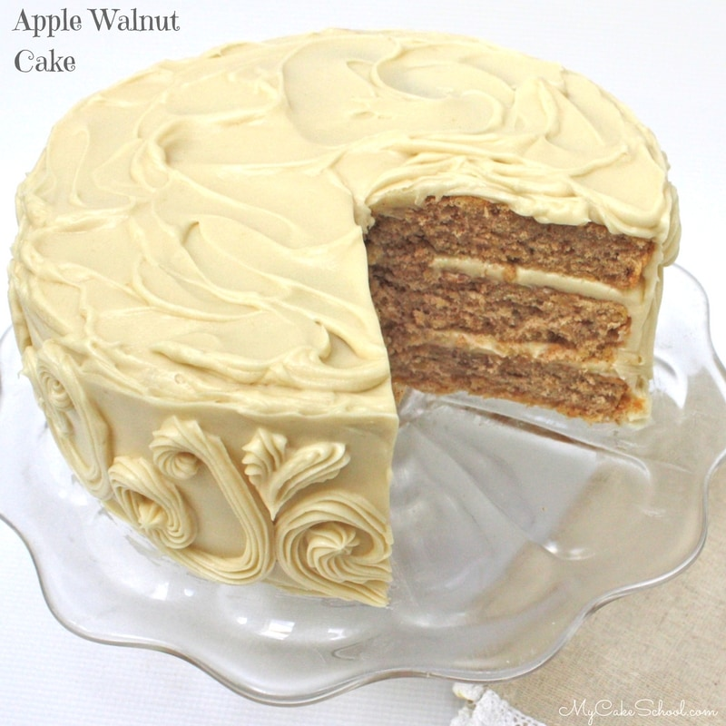 Delicious Apple Walnut Cake Frosted in Maple Cream Cheese Frosting