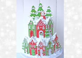 Christmas Village Cake Tutorial by MyCakeSchool.com! (Member Section)
