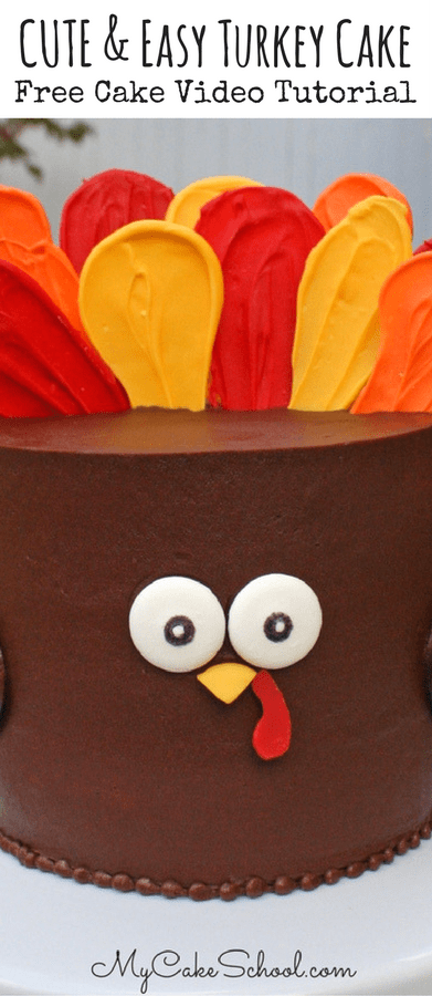 Free Turkey Cake Video Tutorial by MyCakeSchool.com! This cute Turkey Cake is SO easy to make, and is perfect for Thanksgiving gatherings!