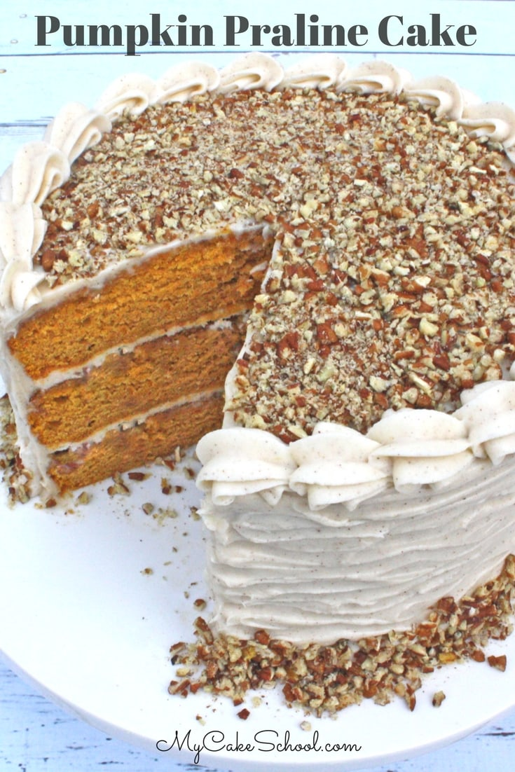 Moist and Delicious Pumpkin Praline Cake with Spiced Cream Cheese Frosting by MyCakeSchool.com. Perfect for fall and Thanksgiving!