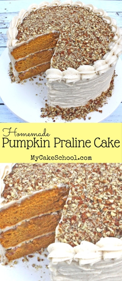 AMAZING Pumpkin Praline Cake Recipe by MyCakeSchool.com! The perfect blend of pumpkin, spices, and a delicious praline topping! Perfect for fall! #fall #pumpkin #pumpkincake #pumpkinpraline