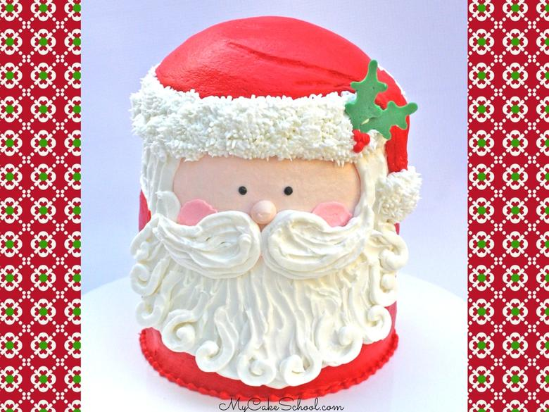 Cute and Easy Buttercream Santa Cake Video Tutorial by MyCakeSchool.com! (Member Section). Perfect for Christmas entertaining!