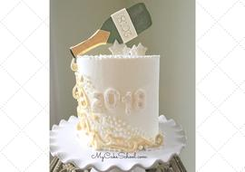 Free Cake Video Tutorial for a Beautiful Champagne Themed New Year's Cake!