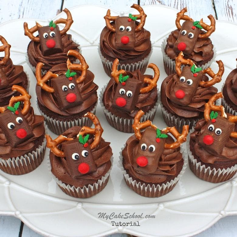 CUTE and Easy Reindeer Cupcake Tutorial by MyCakeSchool.com! These adorable Reindeer Candy Bar Cupcakes are perfect for Christmas parties and class parties!