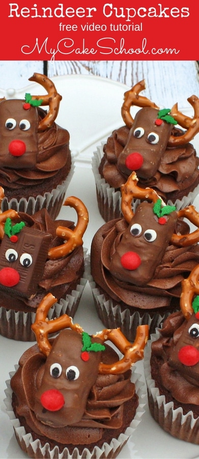 Free Cupcake Tutorial! Learn to make these adorable Reindeer Candy Bar Cupcakes in this MyCakeSchool.com video tutorial! These Reindeer cupcakes would be PERFECT for Christmas parties!