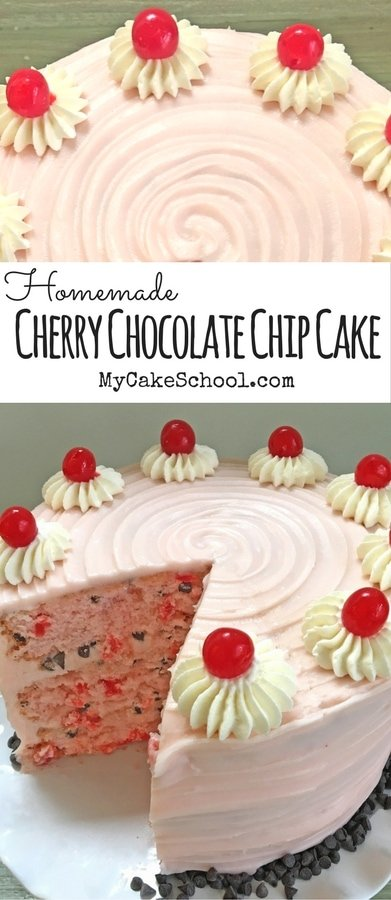 Cherry Chocolate Chip Cake Recipe by MyCakeSchool.com! A flavorful combination of maraschino cherries and chocolate, with Cherry Cream Cheese frosting! #cherry #chocolatechip #cherrychocolatechip #cake