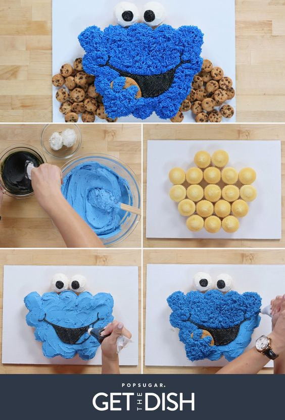 Cookie Monster Cupcake Cake Tutorial