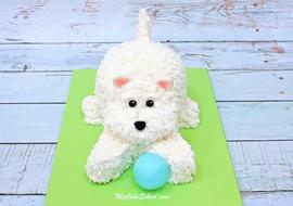 Cute and Easy Fluffy Puppy Cake Tutorial by MyCakeSchool.com! This adorable dog cake would be perfect for dog lovers as well as young birthdays!