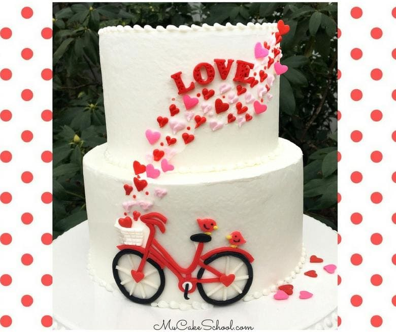 Valentine's Day Bicycle Cake Video Tutorial (Member Video Section) by MyCakeSchool.com- Perfect for Valentine's Day, anniversaries, and engagement parties!