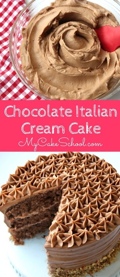 Chocolate Italian Cream Cake Recipe from Scratch by MyCakeSchool.com! So moist and delicious!