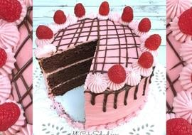 Delicious Devil's Food Cake from scratch with Raspberry Buttercream Filling