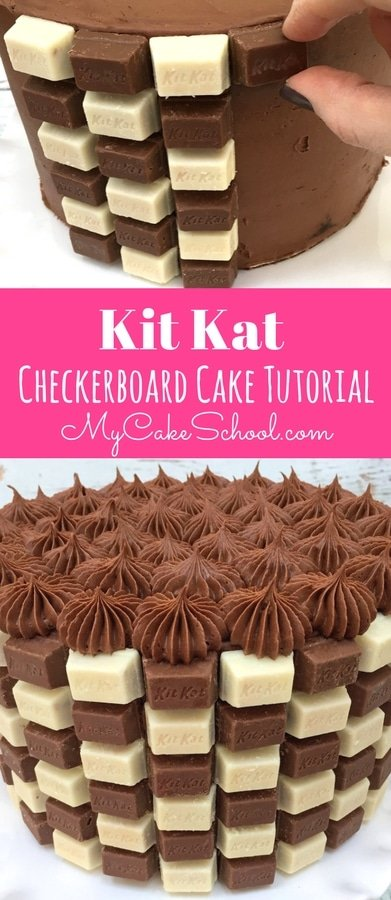 Kit Kat Checkerboard Cake Tutorial by MyCakeSchool.com