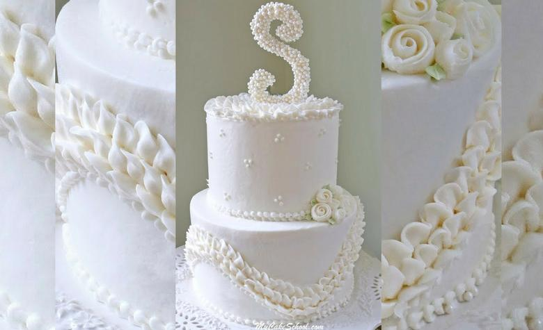 Ruffles and Pearls Cake Video Tutorial by MyCakeSchool.com- Member Section