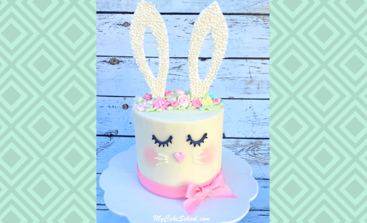 Learn to make a cute and easy bunny cake for Easter, young birthdays or baby showers in this free cake video tutorial!