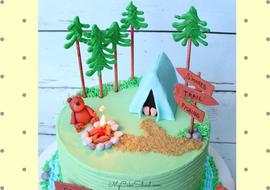 CUTE Camping Cake Video Tutorial by MyCakeSchool.com