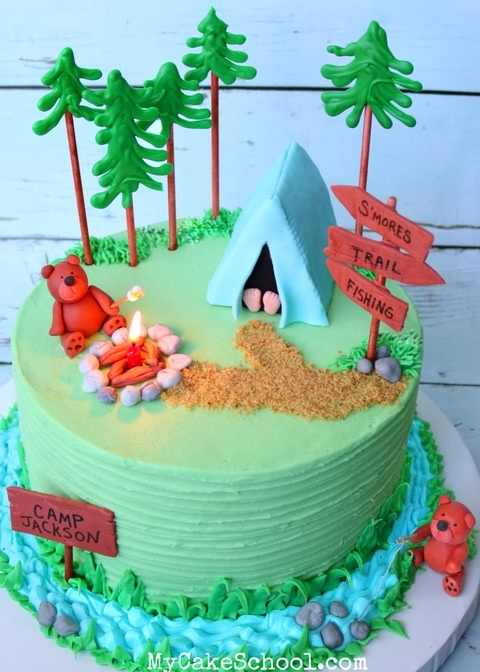 Camping Cake Video Tutorial by MyCakeSchool.com