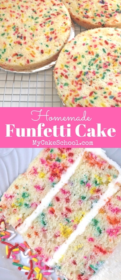 Homemade Funfetti Cake Recipe by MyCakeSchool.com. So moist, delicious, and cheerful!