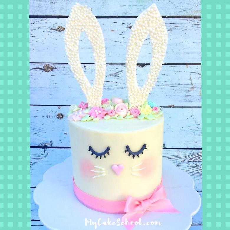 Sweet and Simple Bunny Cake Video Tutorial by MyCakeSchool.com