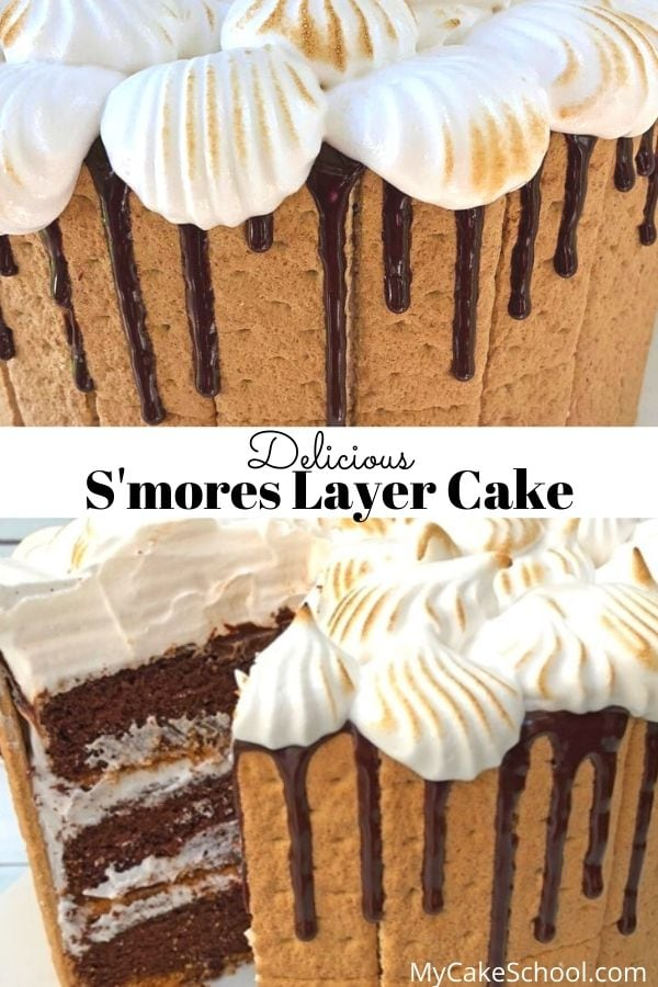Moist, Delicious S'mores Layer Cake- This recipe is SO good.