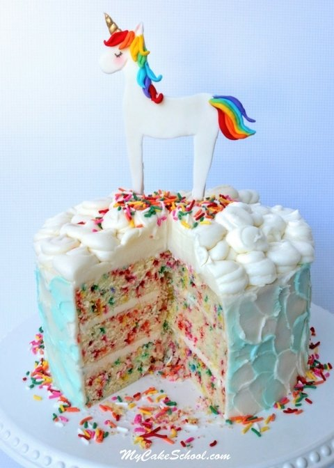 Unicorn Cake Topper Tutorial by MyCakeSchool.com. SO adorable for young birthdays or for the unicorn and rainbow sprinkle lovers in your life!