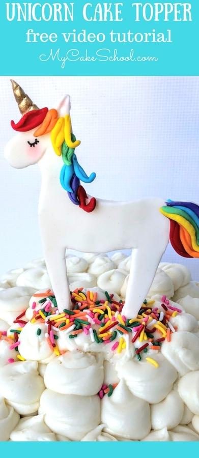 Cute and Easy Free Unicorn Cake Topper Tutorial by MyCakeSchool.com