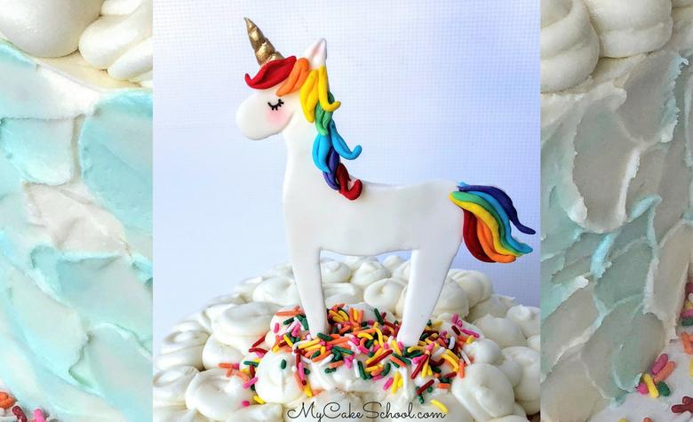 Learn how to make a CUTE and easy unicorn cake topper in this free video tutorial by MyCakeSchool.com!