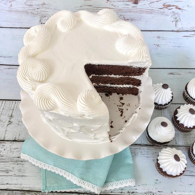 Delicious Homemade Chocolate Sour Cream Cake frosted in Seven Minute Frosting