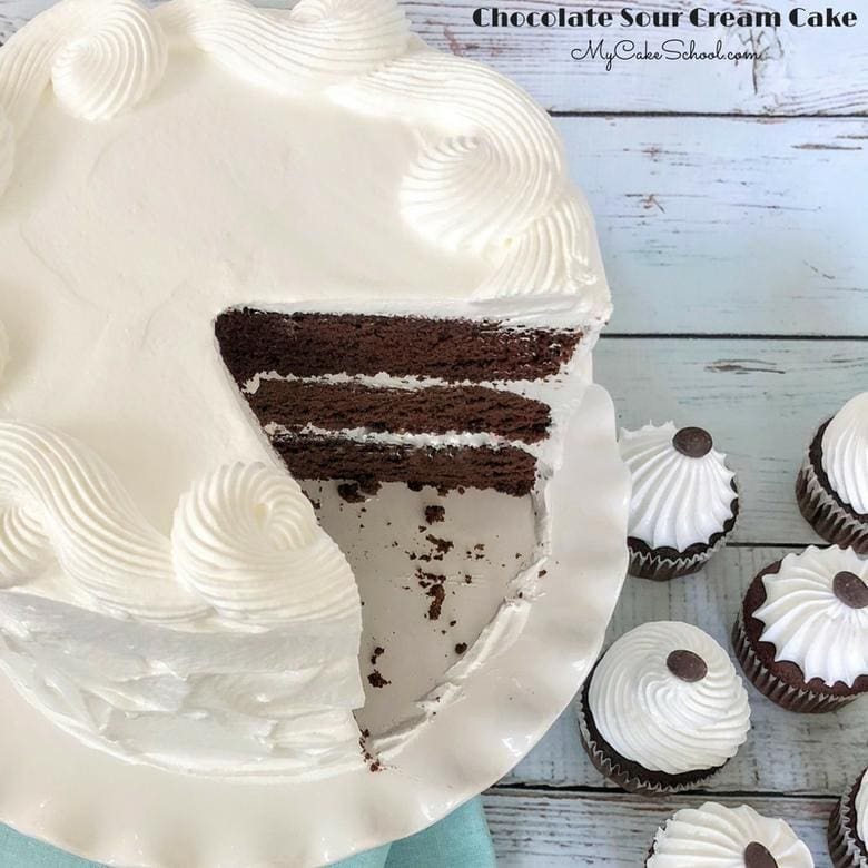 This Chocolate Sour Cream Cake recipe is decadent, ultra moist, and works perfectly for both cakes and cupcakes! It's an all around amazing chocolate cake recipe!