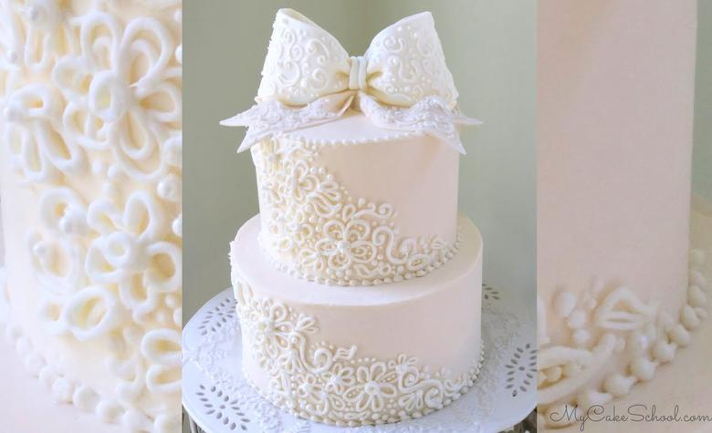 Elegant Piping And Bow A Cake Video Tutorial My Cake School