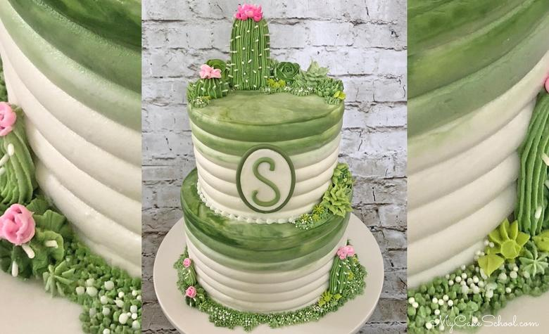 Buttercream Cactus and Succulents Cake Video Tutorial by MyCakeSchool.com!