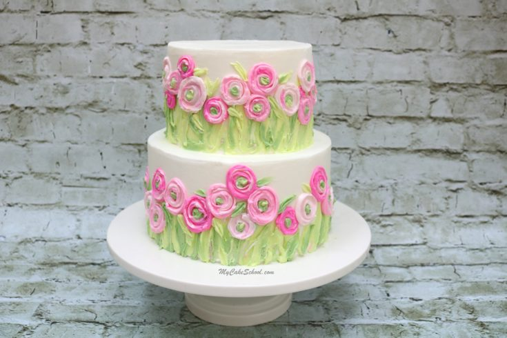 Raunculus Fields Cake- Painting with Buttercream Tutorial