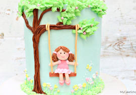 Sweet Girl on a Swing Cake- Free Cake Video Tutorial