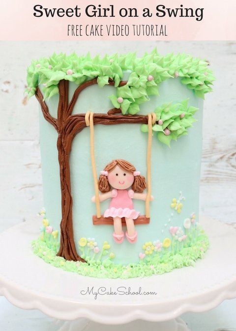 In this free cake decorating video tutorial, learn how to make a sweet and simple cake featuring a girl on a swing!