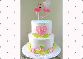 Adorable Flamingo Bridal Shower Cake Video Tutorial by MyCakeSchool.com