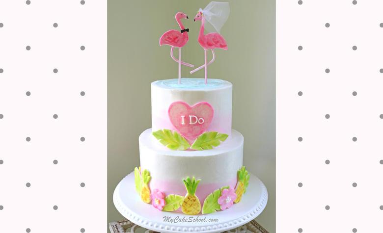 Adorable Flamingo Bridal Shower Cake Video Tutorial by MyCakeSchool.com