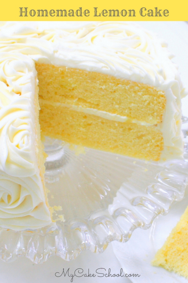 This Lemon Cake Recipe from scratch is the BEST! Most and delicious Lemon Cake Layers, filled with lemon curd and frosted with lemon cream cheese frosting!