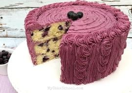 Moist and Flavorful Lemon Blueberry Cake Recipe by MyCakeSchool.com