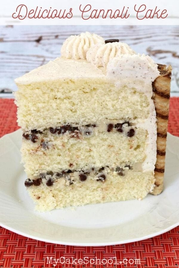 This homemade Cannoli Cake Recipe is so moist and flavorful with Vanilla Cake Layers, Chocolate Chip Mascarpone Filling, and Cinnamon Whipped Cream!