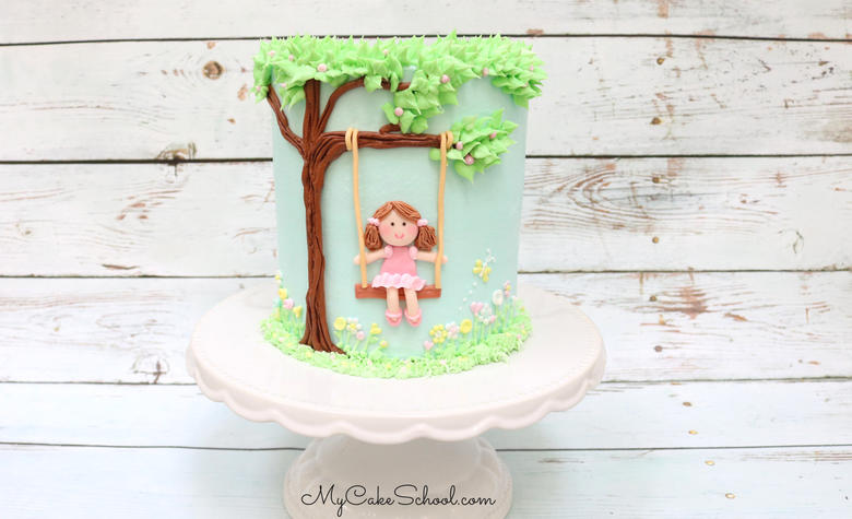 Adorable Girl on a Swing Cake Video Tutorial