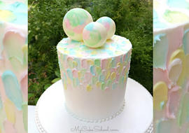 Beautiful Painted Buttercream Cake with Chocolate Spheres